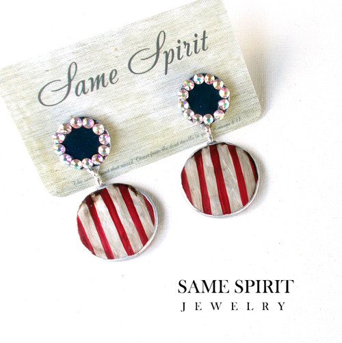 PATRIOTIC- POST BACK earrings - Round and Round