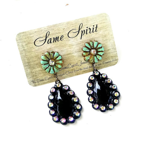 POST BACK EARRINGS - TINY TINY WHOA NELLIE (distressed turquoise with black teardrop)