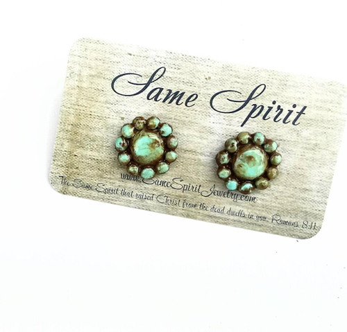 POST BACK EARRINGS - TINY TINY CENTRIPETAL (distressed turquoise)