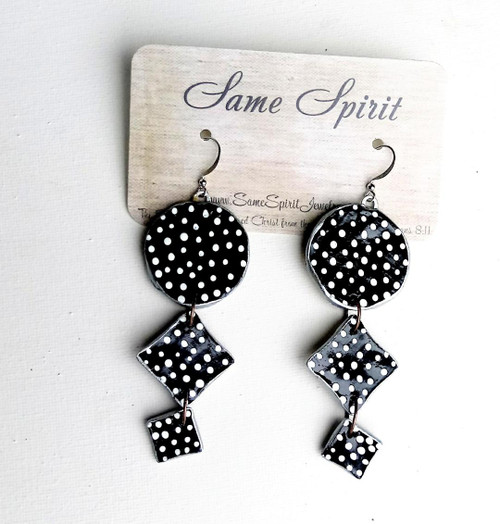 EARRINGS - SWISS DOTS (black and white)