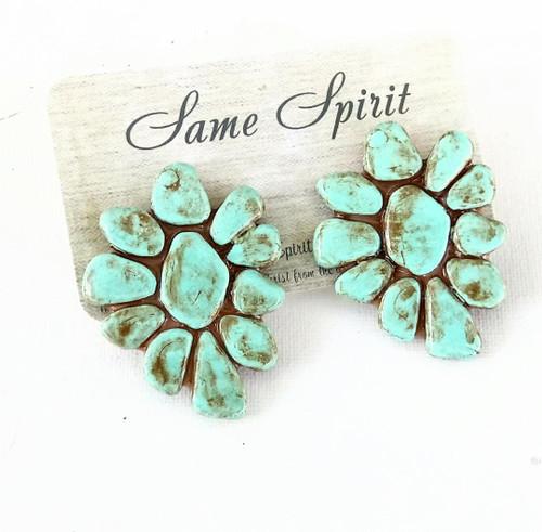 POST BACK EARRINGS - ROCK STAR (turquoise stone)
