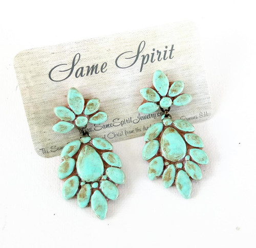 """POST BACK EARRINGS - """"GO-TO-CHANDELIERS"""" (turquoise stone)"""