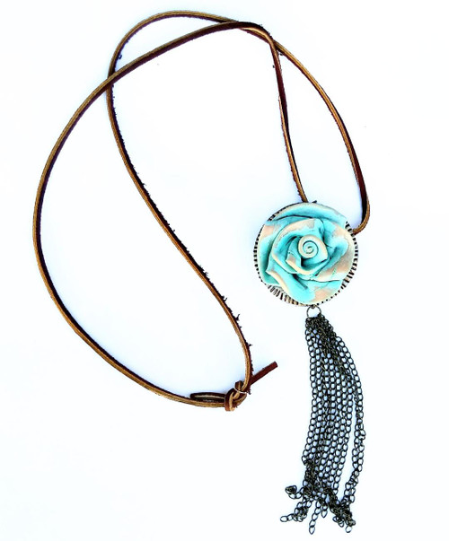 NECKLACE - ALAMO ROSE (light turquoise with chain tassel)