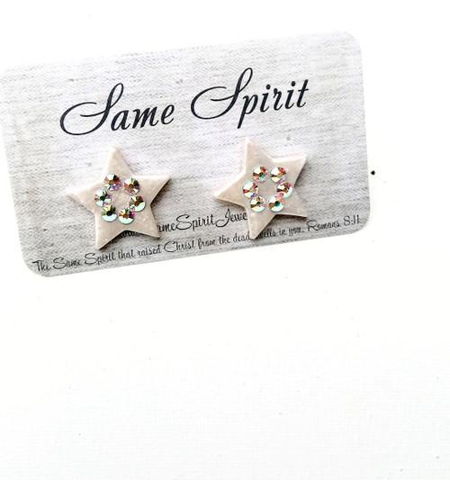 PATRIOTIC - POST BACK EARRINGS - CREAM PEARL STARS