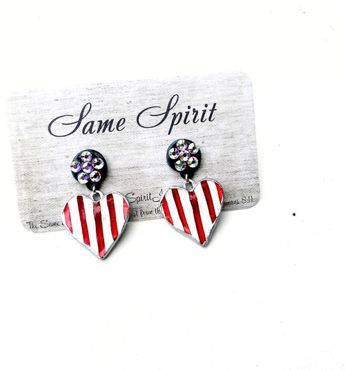 PATRIOTIC - post back - TINY 2 PART HEART with crystal round stud