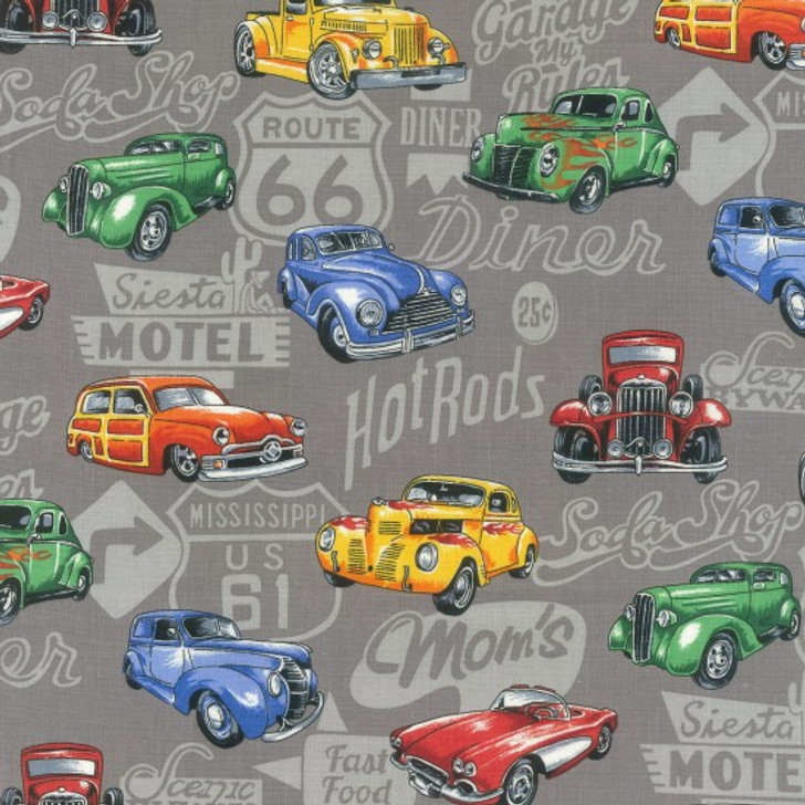 Classic Cars Retro Hot Rod Ute Grey and White Background Cotton Quilting Fabric 1/2 YARD