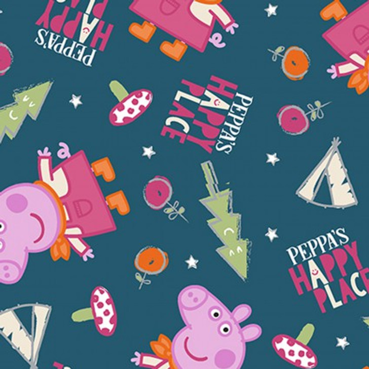 Peppa Pig Peppa's Happy Place Blue Cotton Quilting Fabric 1/2 YARD