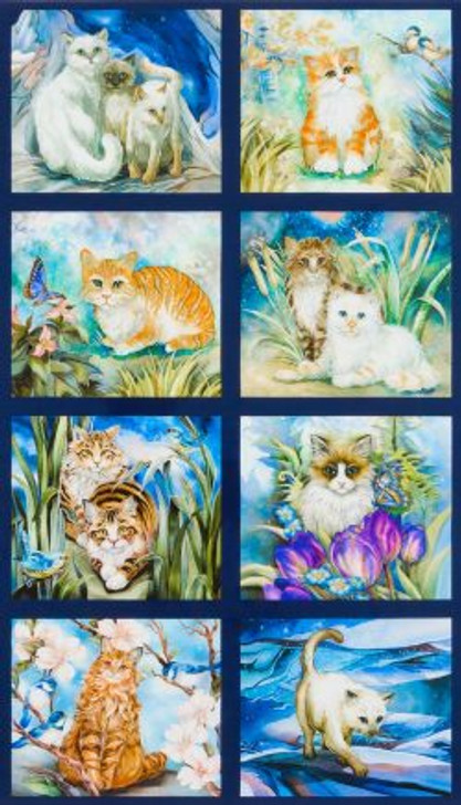 Cats Kittens Garden Cats Be Pawsitive Cotton Quilting Fabric Panel