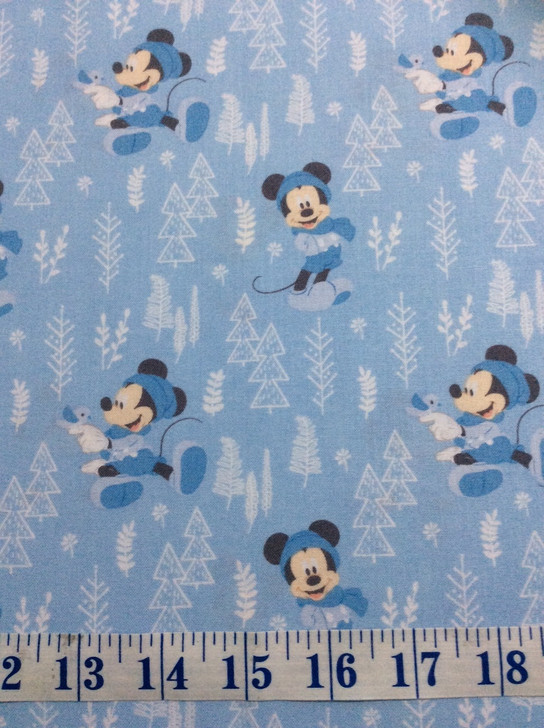 Disney Mickey Mouse Forest Blue Little Meadow Cotton Quilting fabric 1/2 YARD