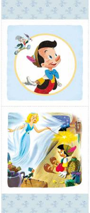 Disney Pinocchio and Jiminy Cricket Cotton Quilting Fabric Pillow Panel