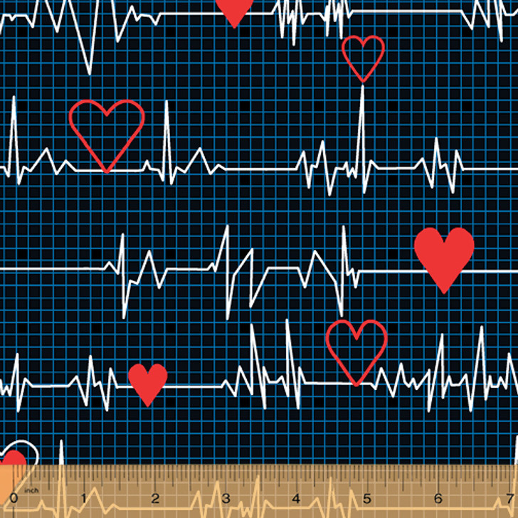 Calling All Nurses Heart Beat Black Cotton Quilting Fabric
