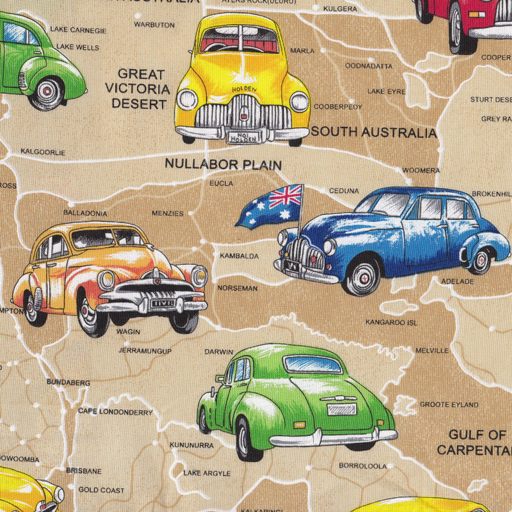 Old Holden Cars on Tan Australian Map Cotton Quilting Fabric