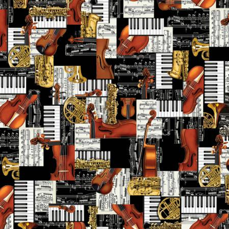 Classical Patchwork Multi Violins Saxophones Tubas Cotton Quilting Fabric 1/2 YARD