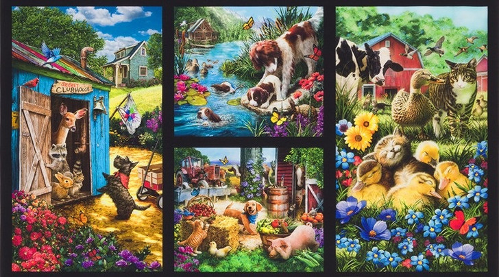 Down on the Country Farm Cows Ducks Pigs Horses Dogs Cats Cotton Quilting Fabric Panel