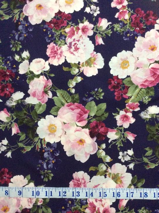 Ruru Bouquet Suzonne Floral Rose Bouquet Dark Purple Cotton Quilting Fabric 1/2 YARD