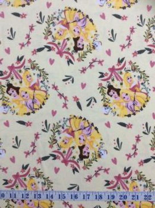 Disney Princess Friends Belle Cinderella Rapunzel STRETCH KNIT Fabric Suit T Shirts 1/2 YARD