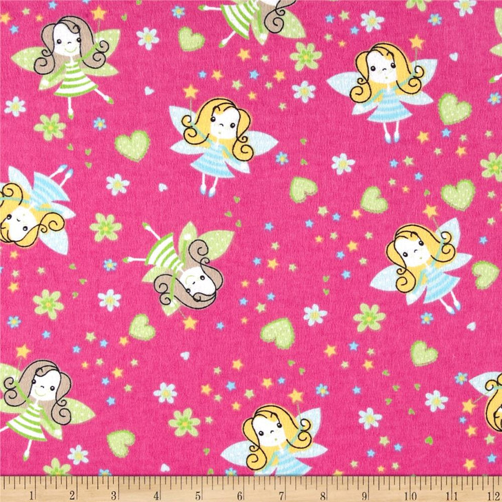 Fairies Hearts Flowers Fuchsia Cotton FLANNEL Quilting Fabric 1/2 YARD