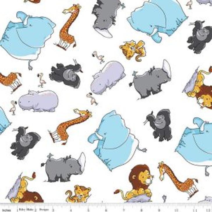 Tarzanimals Jungle Animals Tossed White Cotton Quilting Fabric 1/2 YARD