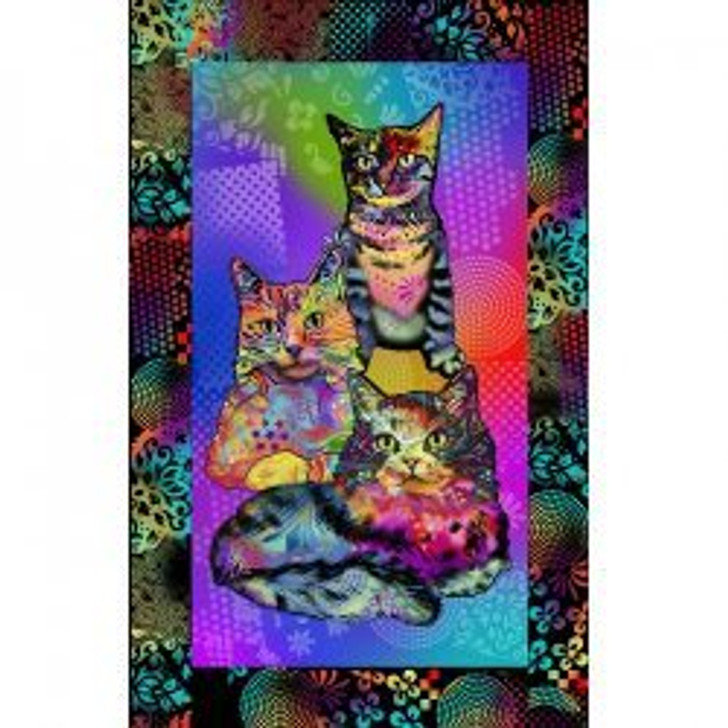 Crazy for Cats Multi Cotton Quilting Fabric Panel