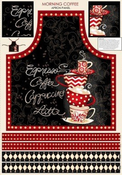 Morning Coffee Cappuccino Latte Coffee Cups Cotton Quilting Fabric Apron Panel