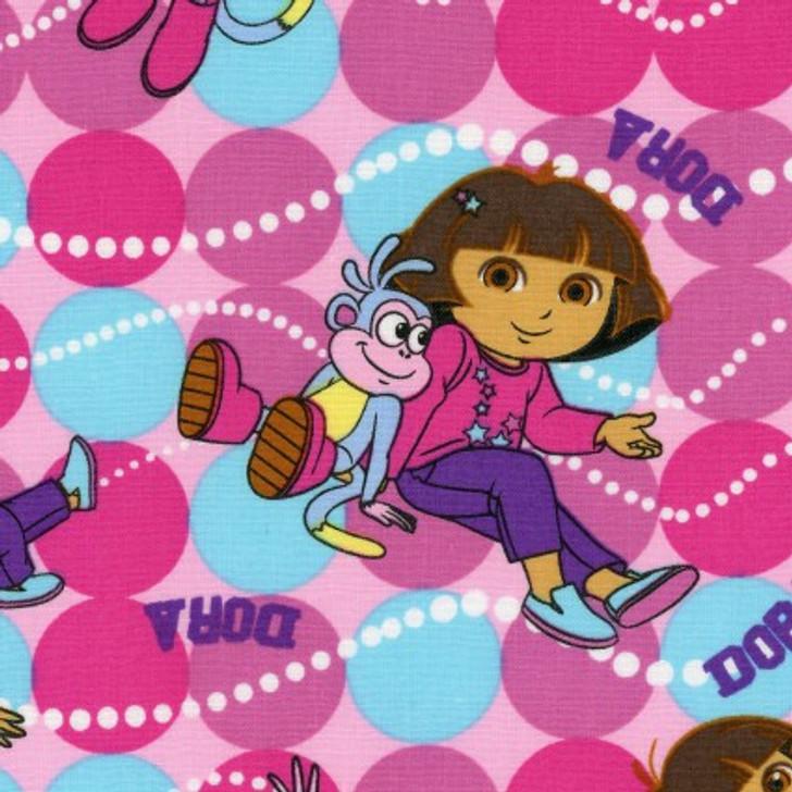 Dora the Explorer Best Friends Toss Cotton Quilting Fabric 1/2 YARD