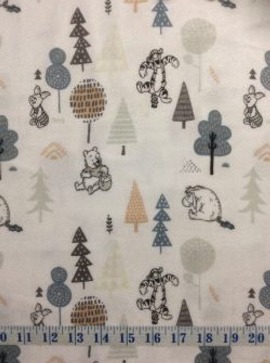 Disney Winnie the Pooh Wonder and Whimsy Forest Friends White Cotton FLANNEL Quilting Fabric 1/2 YARD