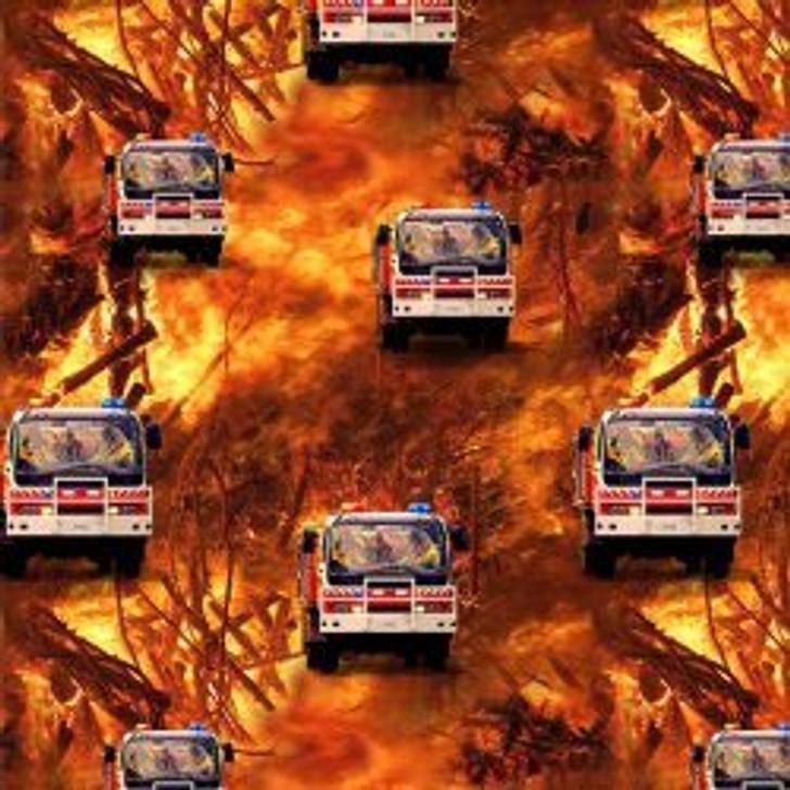Honouring Australia's Firemen Wildfire Heroes 0109/J Fire Trucks Fire B/Ground Cotton Quilting Fabric 1/2 YARD