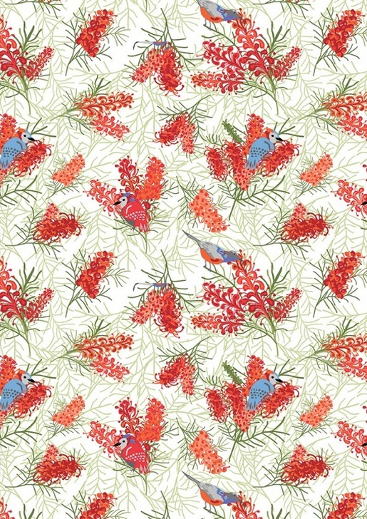 Aussie Flower Garden Birds in Brush Cotton Quilting Fabric 1/2 YARD