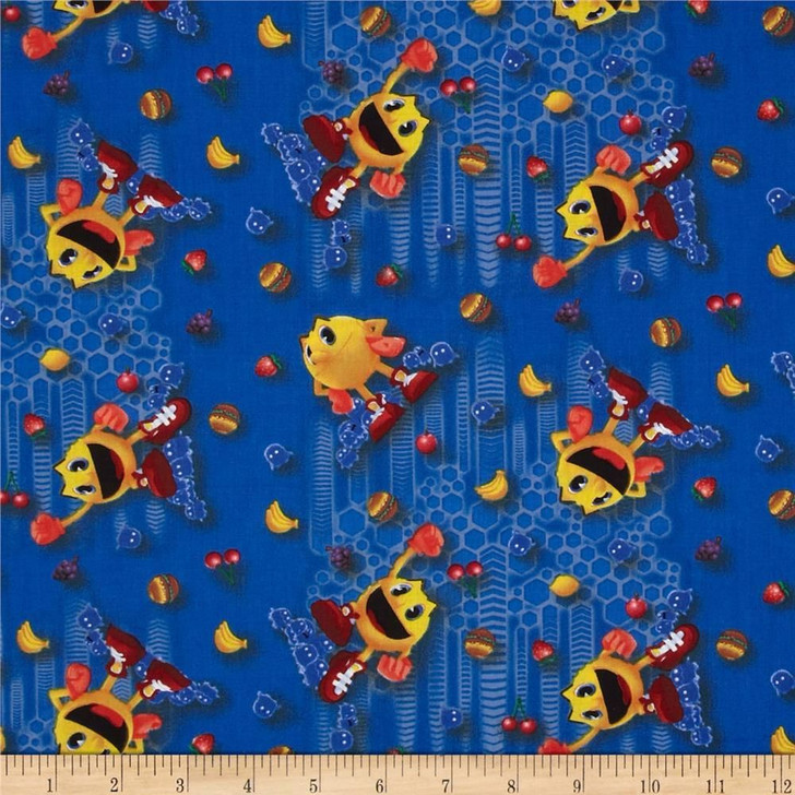 Pac-Man Tossed Blue Cotton Quilting Fabric 1/2 YARD