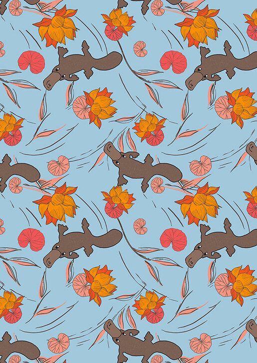 Australian Animal Platypus Play Light Blue Cotton Quilting Fabric 1/2 YARD