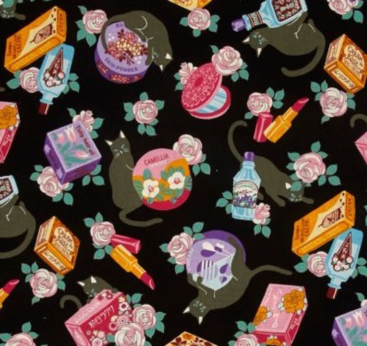 Cats Cosmo Black Cats and Makeup Black Background Cotton Quilting Fabric 1/2 YARD