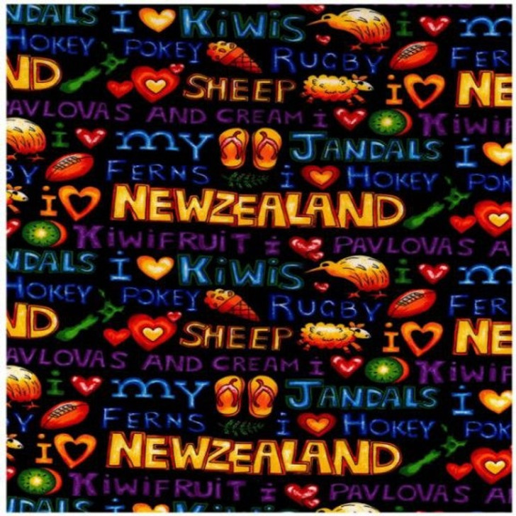 Kiwi Kapers Love New Zealand NZ Words Jandals Sheep Cotton Quilting Fabric 1/2 YARD