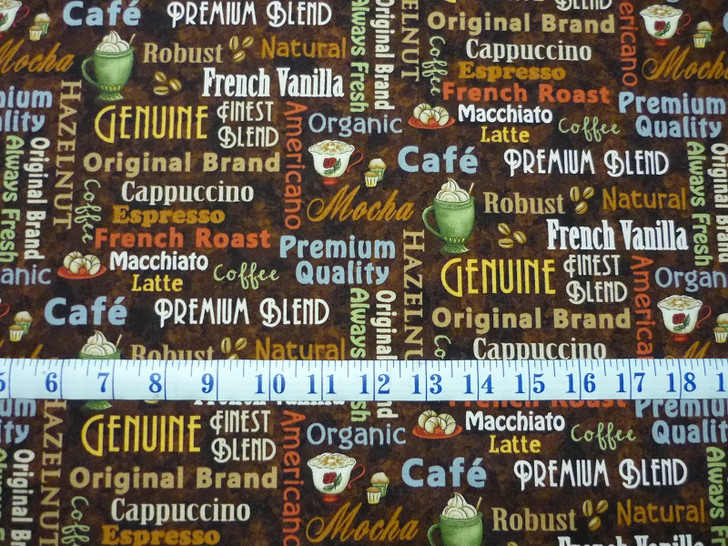Coffee Escapes Words Brown Henry Glass Cotton Quilting ...