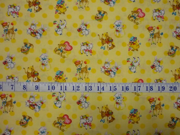 Bambino Bunnies Ducklings Lambs Kittens Yellow Cotton Quilting Fabric 1/2 YARD