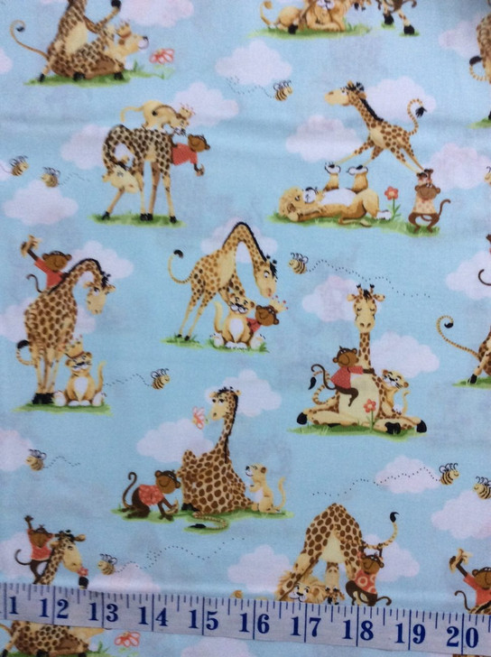 Susybee Buddies Giraffe Monkey Lion Bee Aqua Cotton Quilting Fabric 1/2 YARD