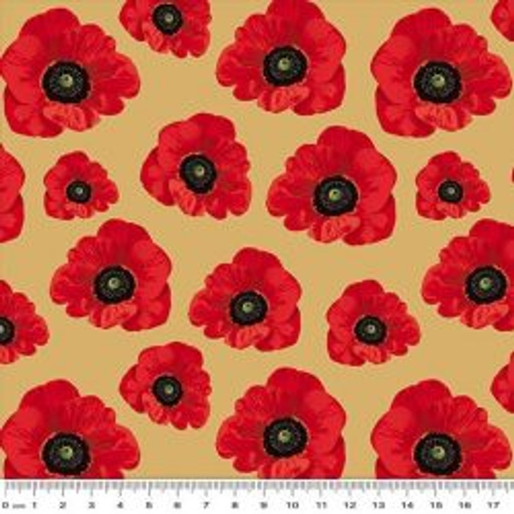 Remembering the ANZACS WW1 Poppies Beige Small Cotton Quilting Fabric 1/2 YARD