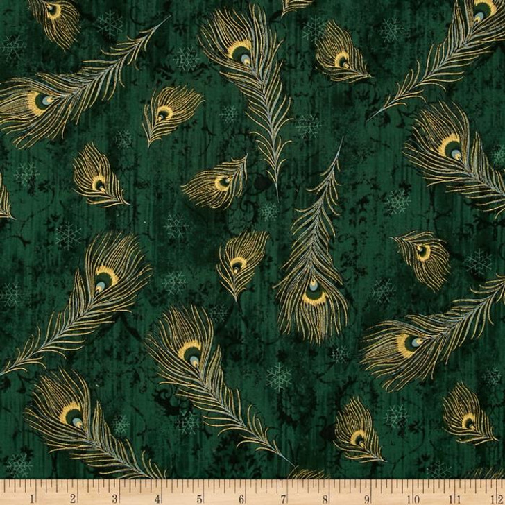 Peacock Ornamental Metallic Peacock Feathers Emerald/Gold Cotton Quilting Fabric 1/2 YARD