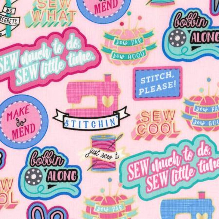 Sew Cool Patches Pink Cotton Quilting Fabric 1/2 YARD