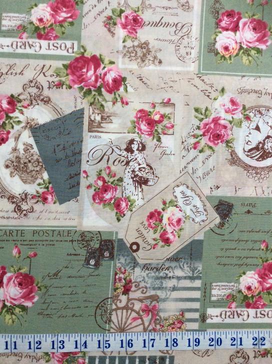Ruru Bouquet Suzonne Floral Rose Bouquet and Script Green Cotton Quilting Fabric 1/2 YARD