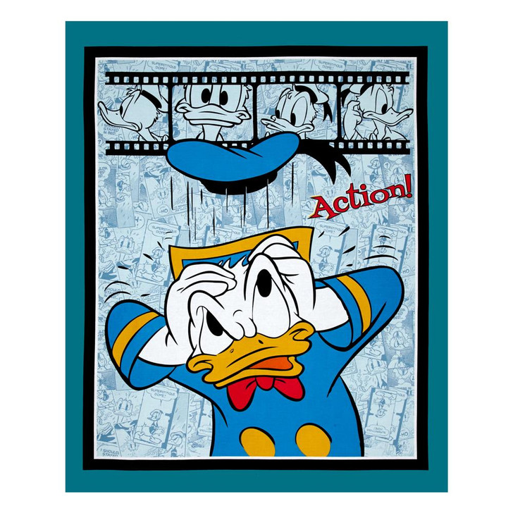 Disney Donald Duck Action Cotton Quilting Fabric Panel