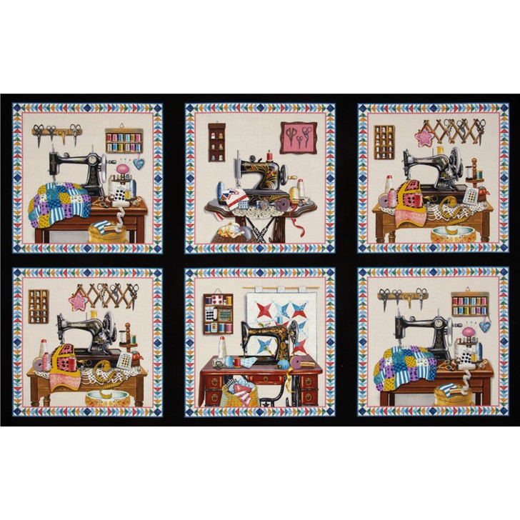 Stitch in Time Sewing Machine Patchwork Black Cotton Quilting Fabric
