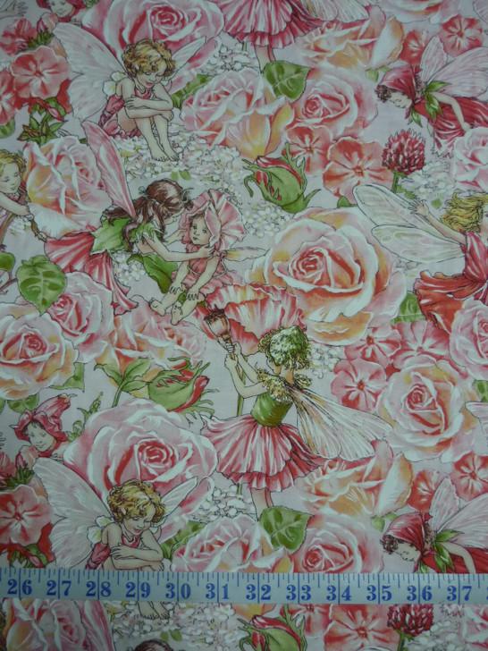 Rose Sweet Garden Fairies Cotton Quilting Fabric