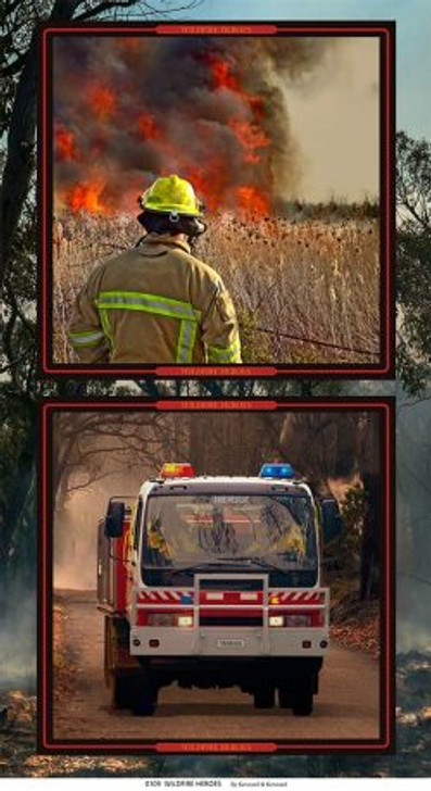Honouring Australia's Firemen Wildfire Heroes 0109/B Cotton Quilting Fabric Panel