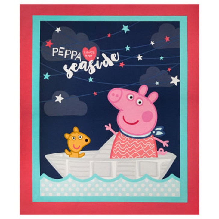 Peppa Pig Peppa At The Seaside Cotton Quilting Fabric Panel