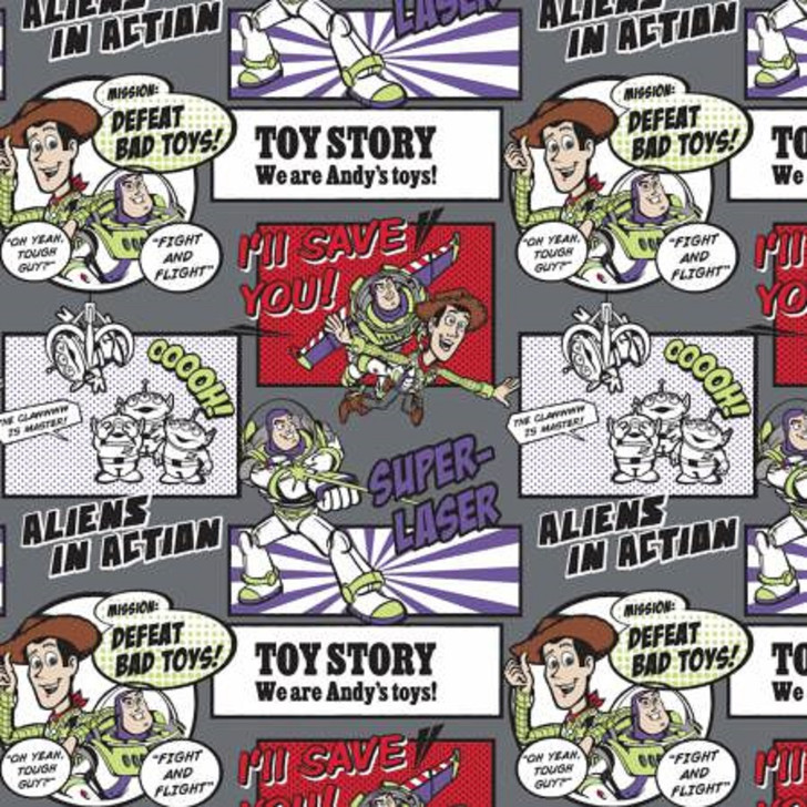 Disney Toy Story Woody and Buzz Lightyear Cotton FLANNEL Quilting Fabric 1/2 YARD
