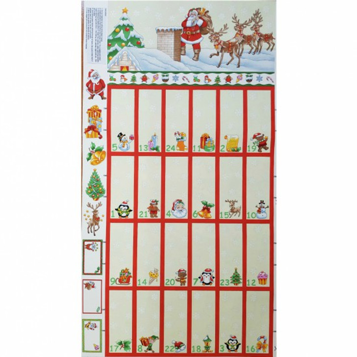 Father Christmas Santa and Reindeer on Rooftop Advent Calendar Cotton Quilting Fabric Panel