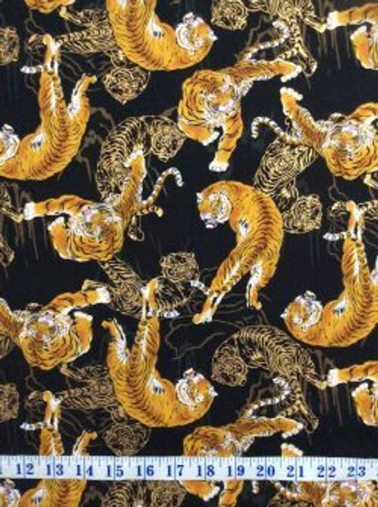 Tigers KiraKira Gold Metallic Highlights Cotton Quilting Fabric 1/2 YARD