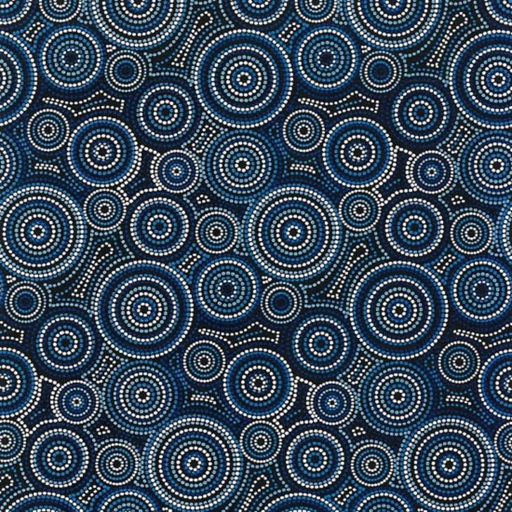 Australian Aboriginal Art Inspired Urite Circle Blue Cotton Quilting Fabric 1/2 YARD