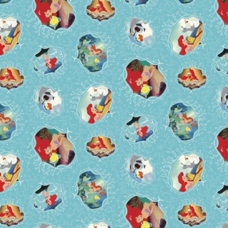Disney Little Mermaid Ariel Movie Posters Cotton Quilting Fabric 1/2 YARD