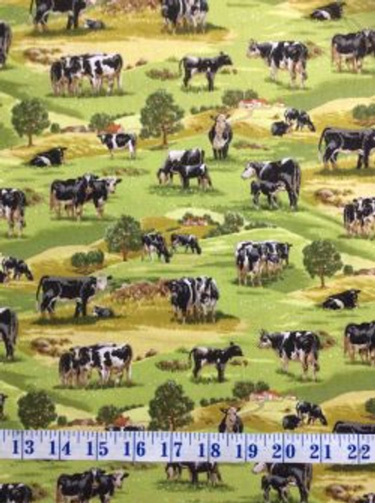 Country Animals Cows and Calves cotton Quilting Fabric 1/2 YARD